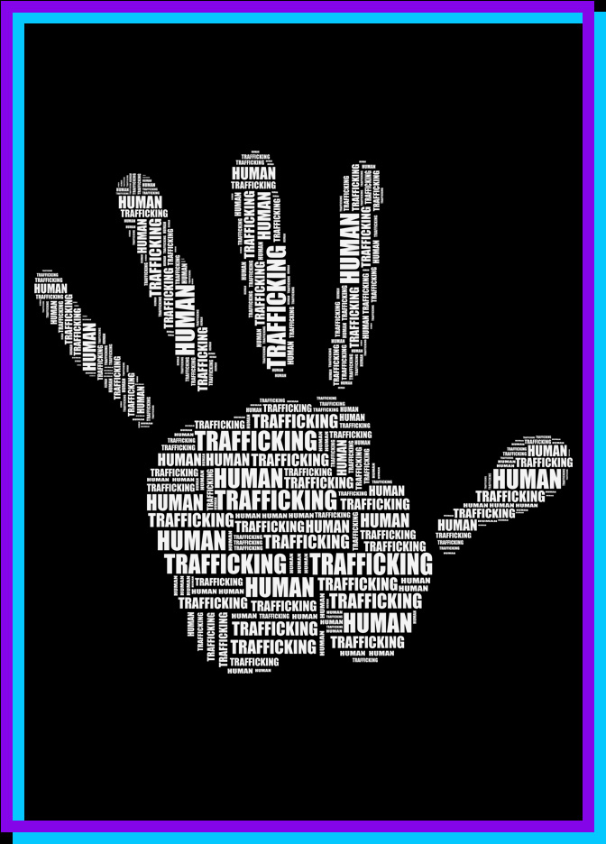 Words Human Trafficking in shape of hand