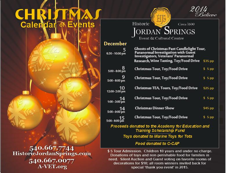 CHRISTMAS CALENDAR OF EVENTS