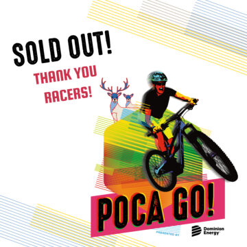"""and image that says """"Sold Out! Thank you racers!"""" in Poca Go Branding"""