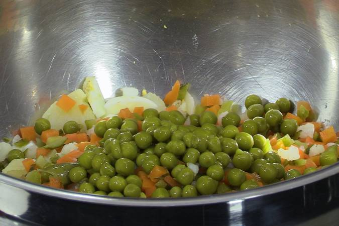 Add the pickles and peas