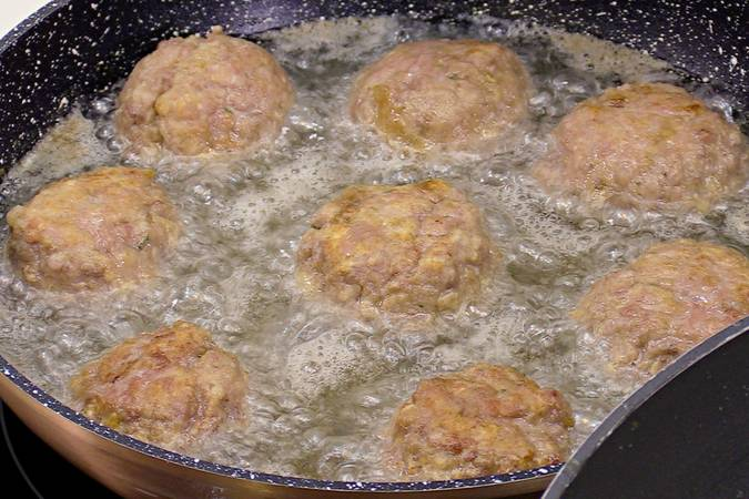 Fry the meatballs and put them in the sauce