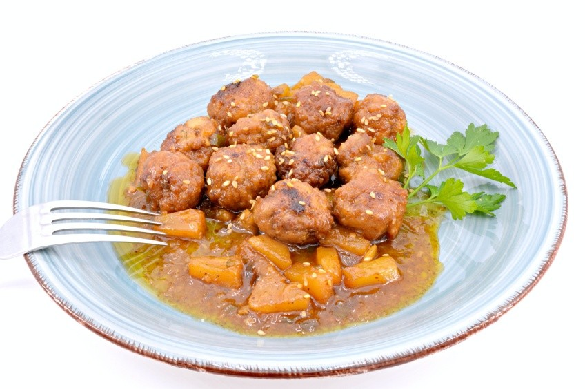 Homemade meatballs with sweet and sour sauce
