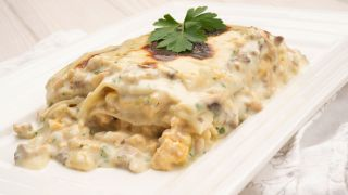 Chicken lasagna with mushroom béchamel