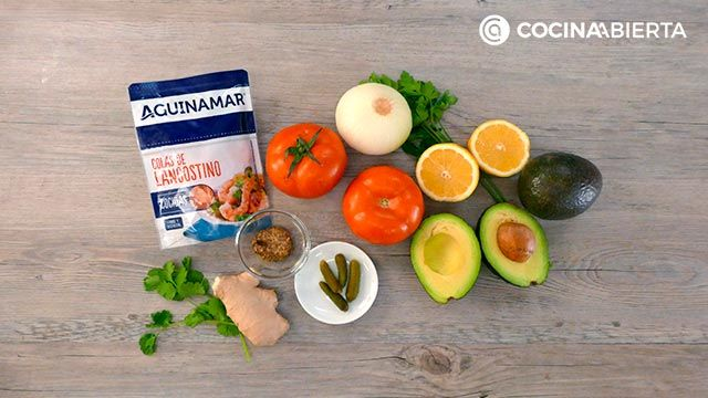 Ingredients of the recipe Timbale from avocado and shrimp