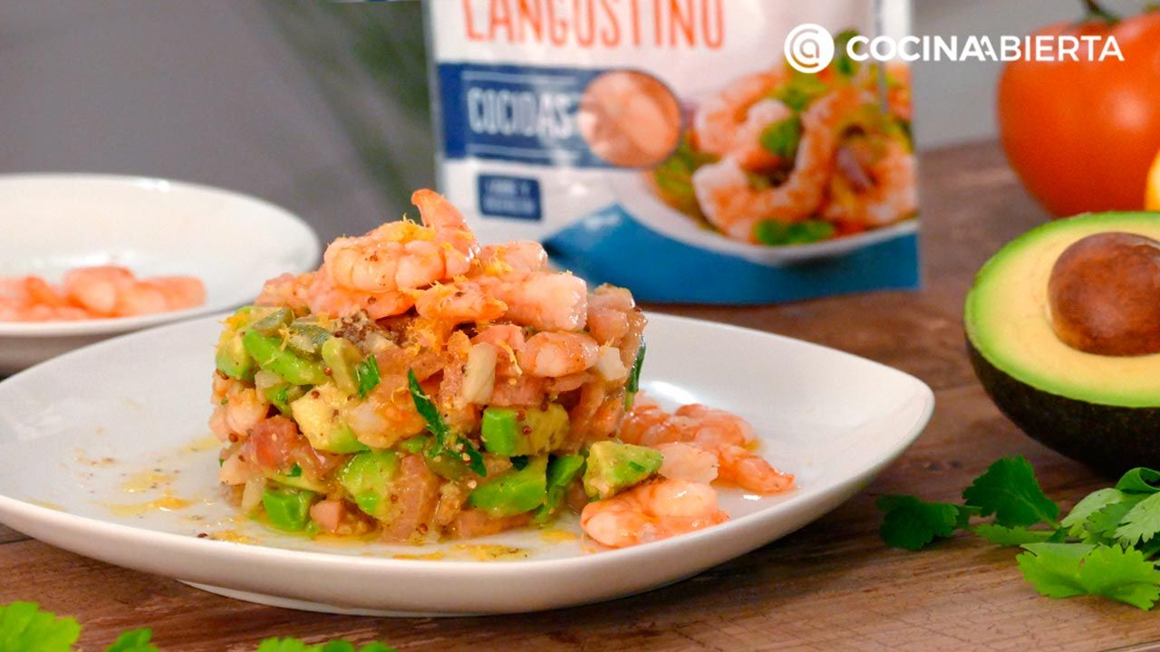 Step 5 of Timbale's recipe for avocado and shrimp