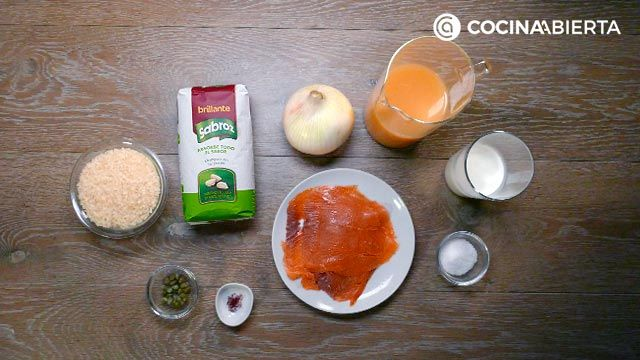 Ingredients of rice with salmon recipe