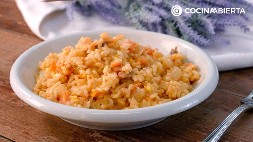 Rice with salmon, very creamy!     Open kitchen