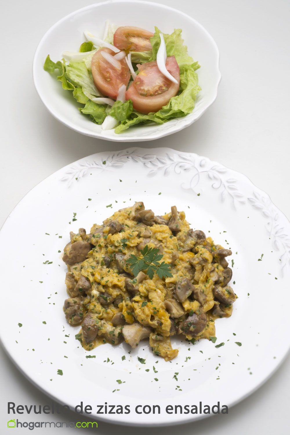 Scrambled eggs with zizi with salad