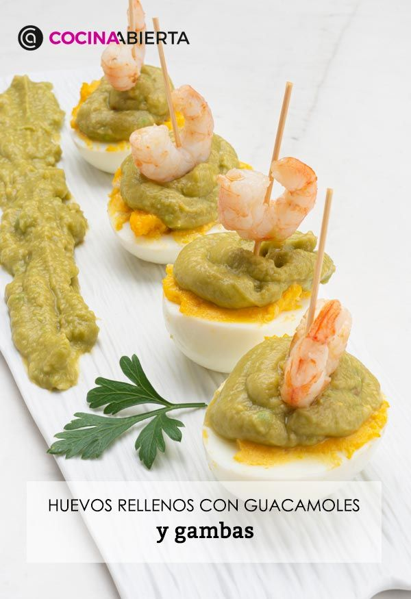 Eggs stuffed with guacamole and shrimp