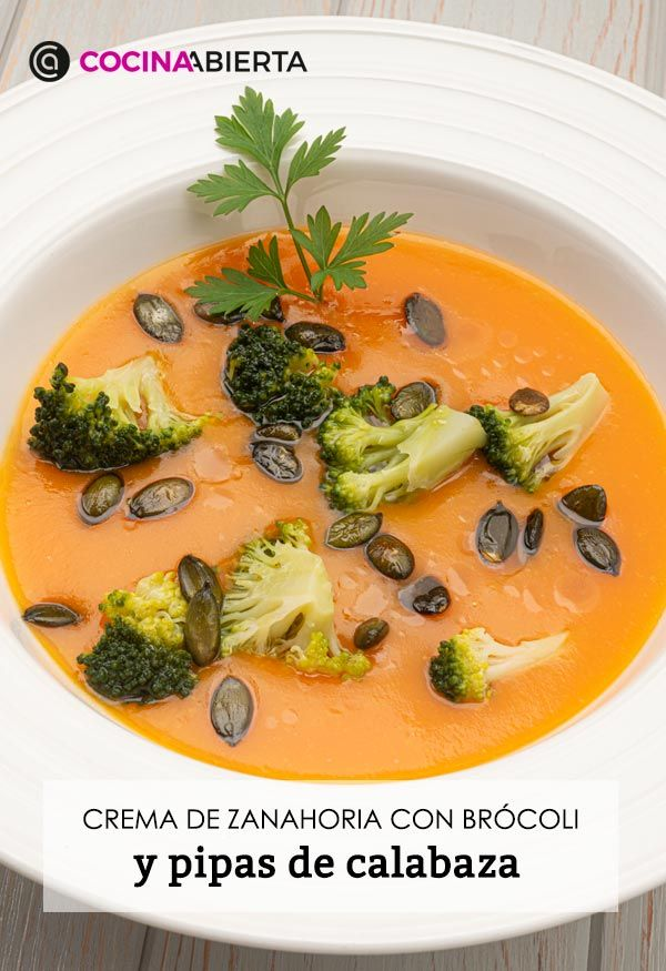 Carrot cream with broccoli and pumpkin seeds