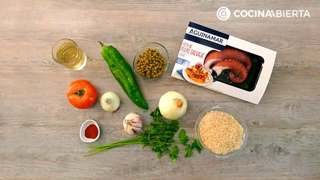 Ingredients of the recipe for Creamy rice with octopus