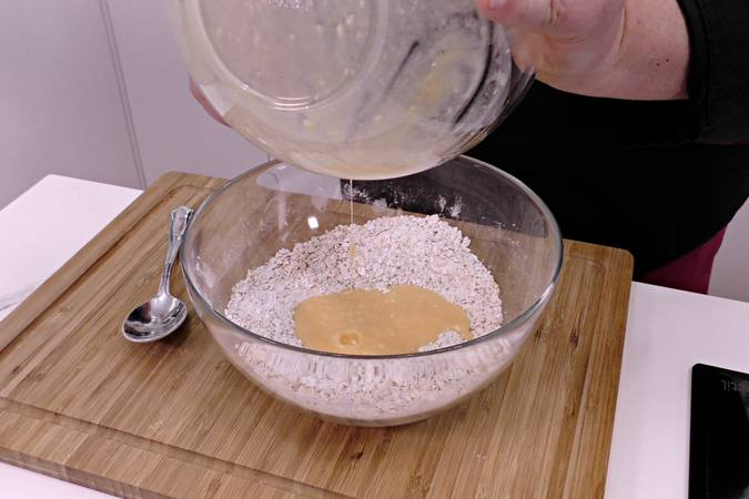 Mix the solid and liquid ingredients, separating and collecting them