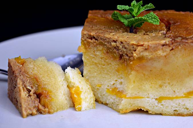 Step 7 Peach pudding in sponge cake syrup