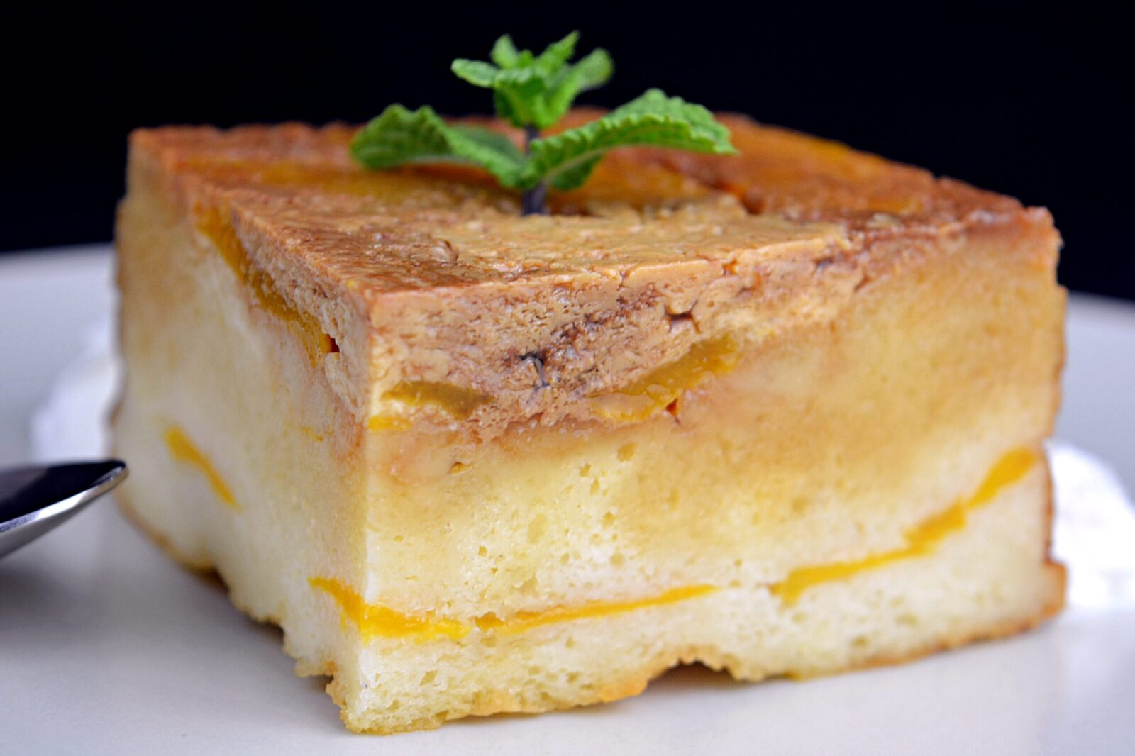 Peach pudding in sponge cake syrup