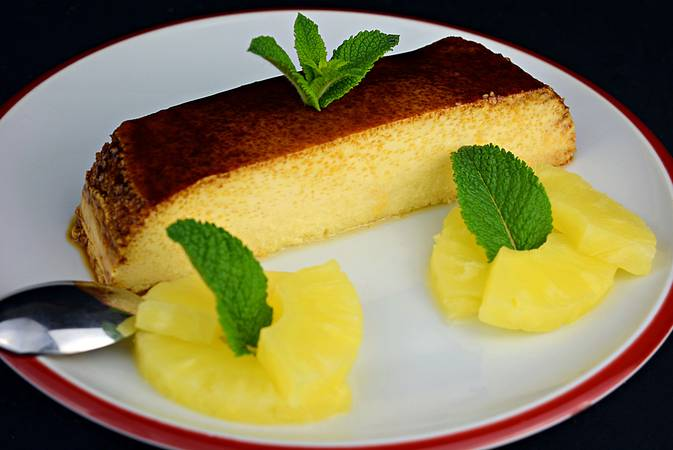 Step 5 of Pineapple Flan with condensed milk