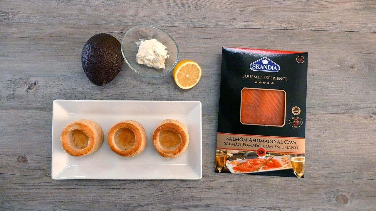 Ingredients of smoked salmon volcanoes with kava, avocado and cream cheese