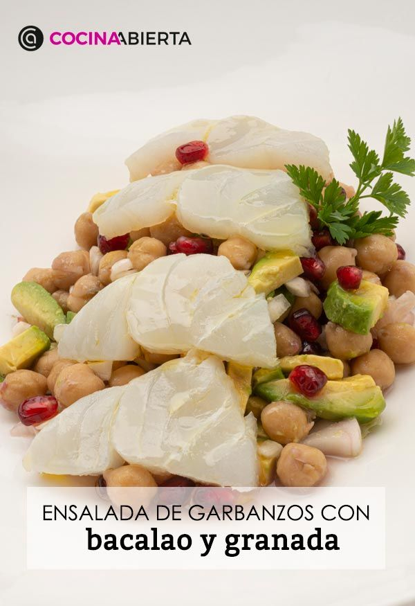 Chickpea salad with cod and pomegranate