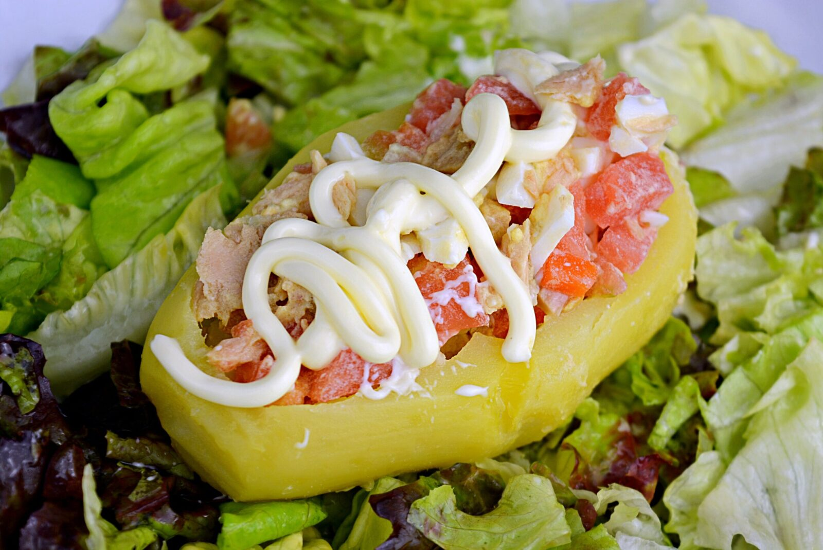 Potatoes stuffed with salad, a quick and easy recipe