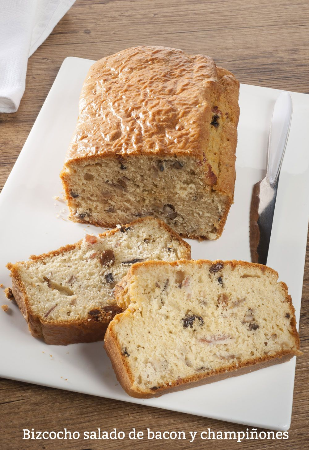 Cake with salted bacon and mushrooms