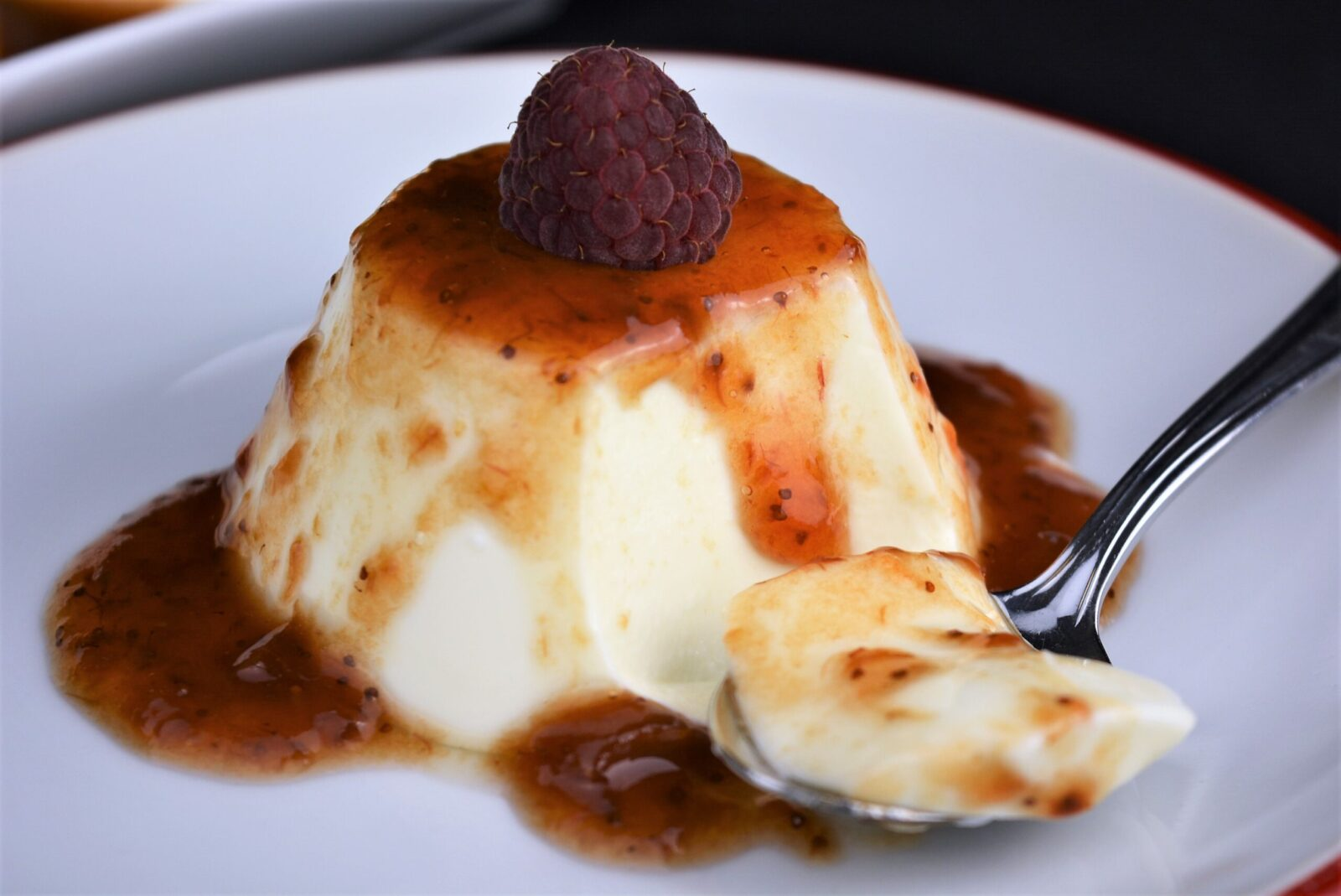 Panacota with cheese and red fruits