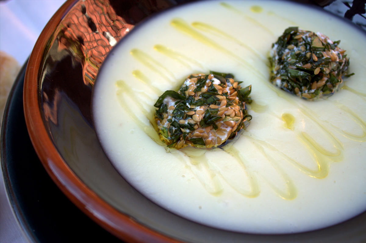 celery cream with cheese and walnut balls