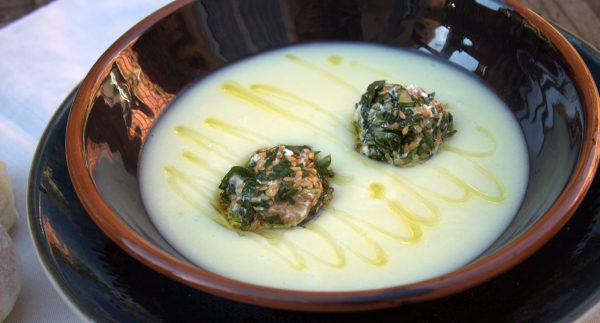 Serve celery cream, place a few balls on each plate and garnish with extra virgin olive oil.