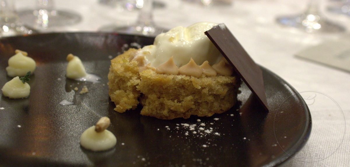 Almond gato with quince ice cream and cheese