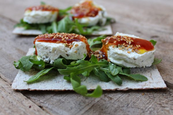 Toast with olive cheese and tomato jam