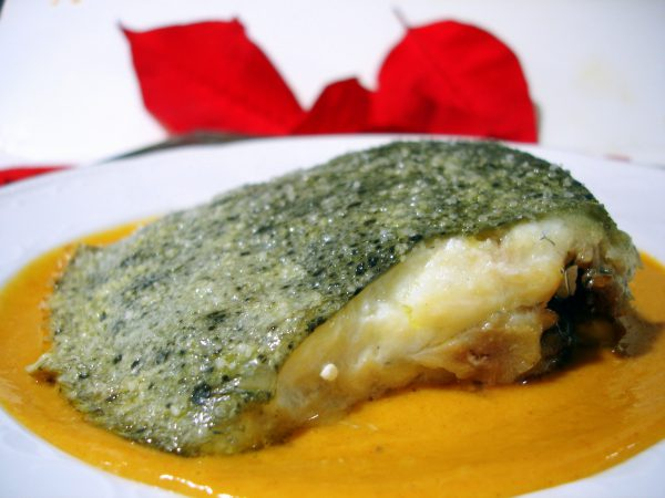 Baked turbot with chickpea cream