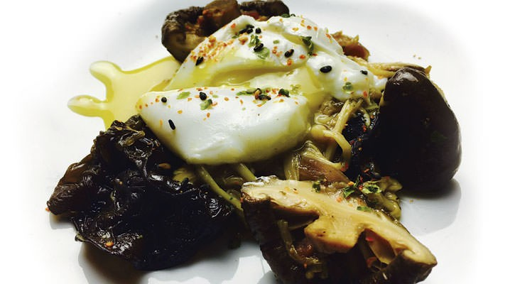 Grilled mushrooms with poached egg rose - Gastroactitud.  Passion for food