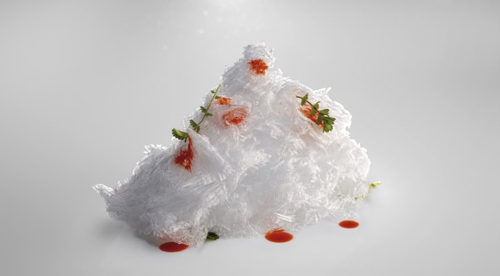 Ice residues flavored with carabinero essence - Gastroactitud.  Passion for food