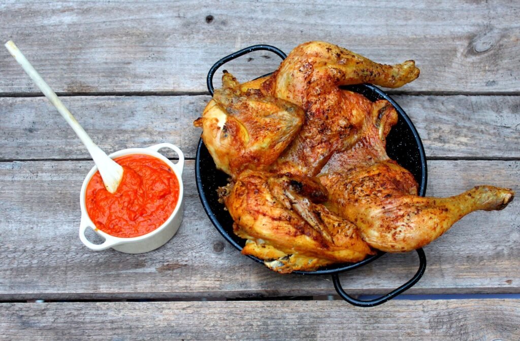 Roast chicken curry with romesco sauce