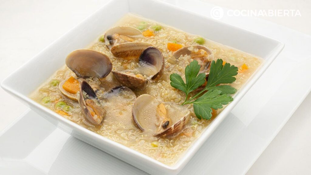 Quinoa soup with mussels, the original recipe from Arguiñano