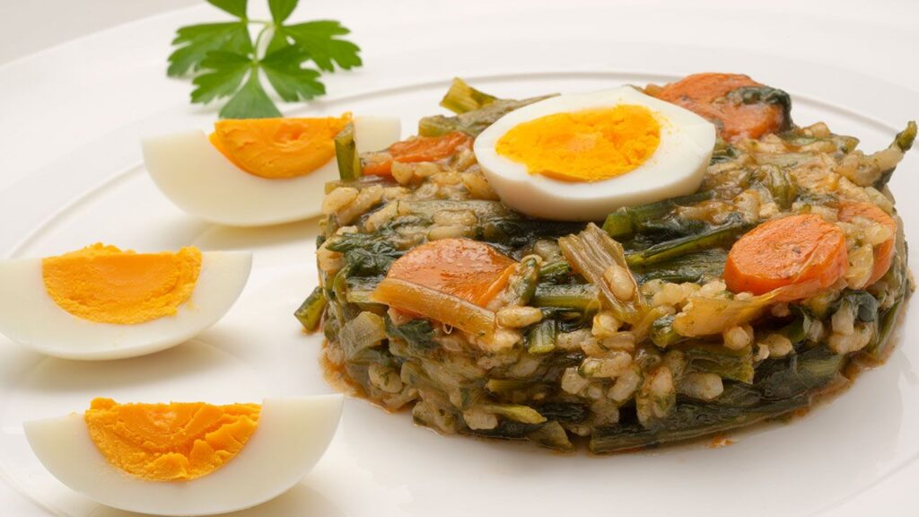 Recipe for casserole with rice, chicory and boiled eggs - Carlos Arginiano