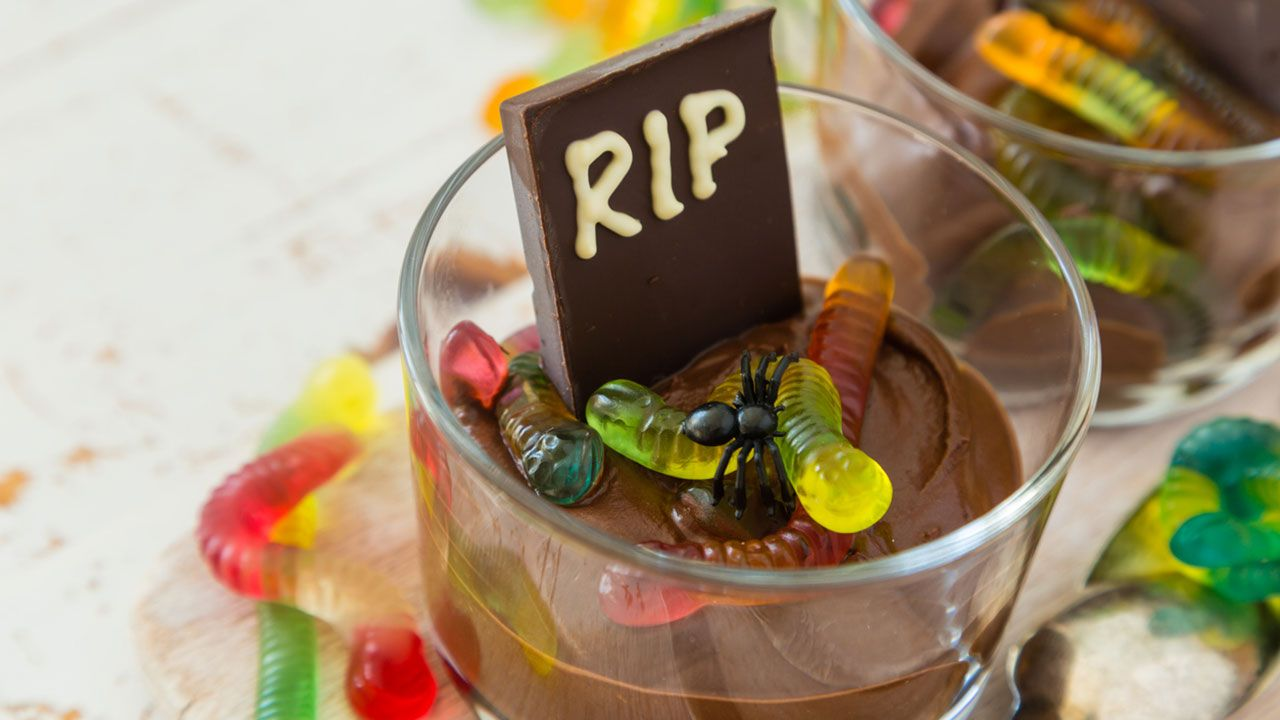Chocolate mousse with candy worms
