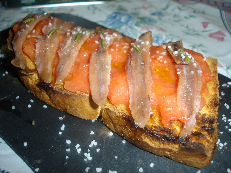 Anchovies with tomato toast