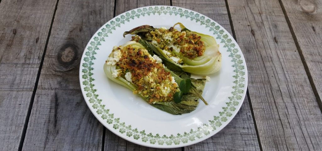 Roasted Pak Choi with pistachios