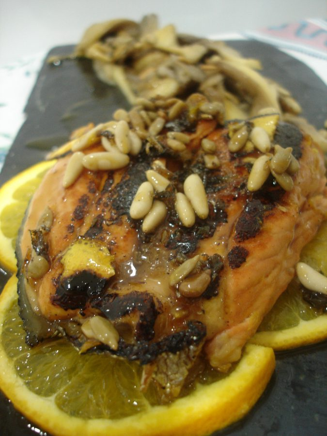 Grilled salmon recipe with orange syrup
