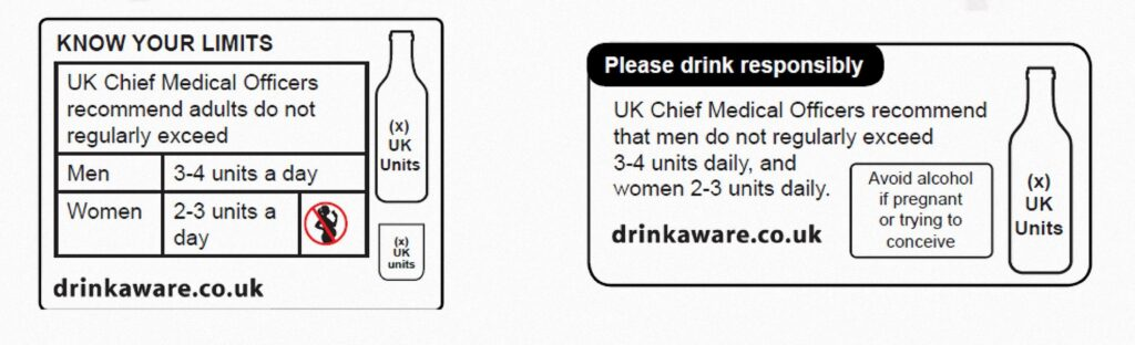 New alcohol labels in the UK
