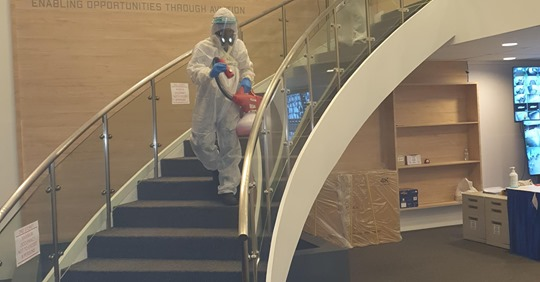 Innovative Pest's Expert Disinfection In Progress At the Civil Aviation Authority of Singapore