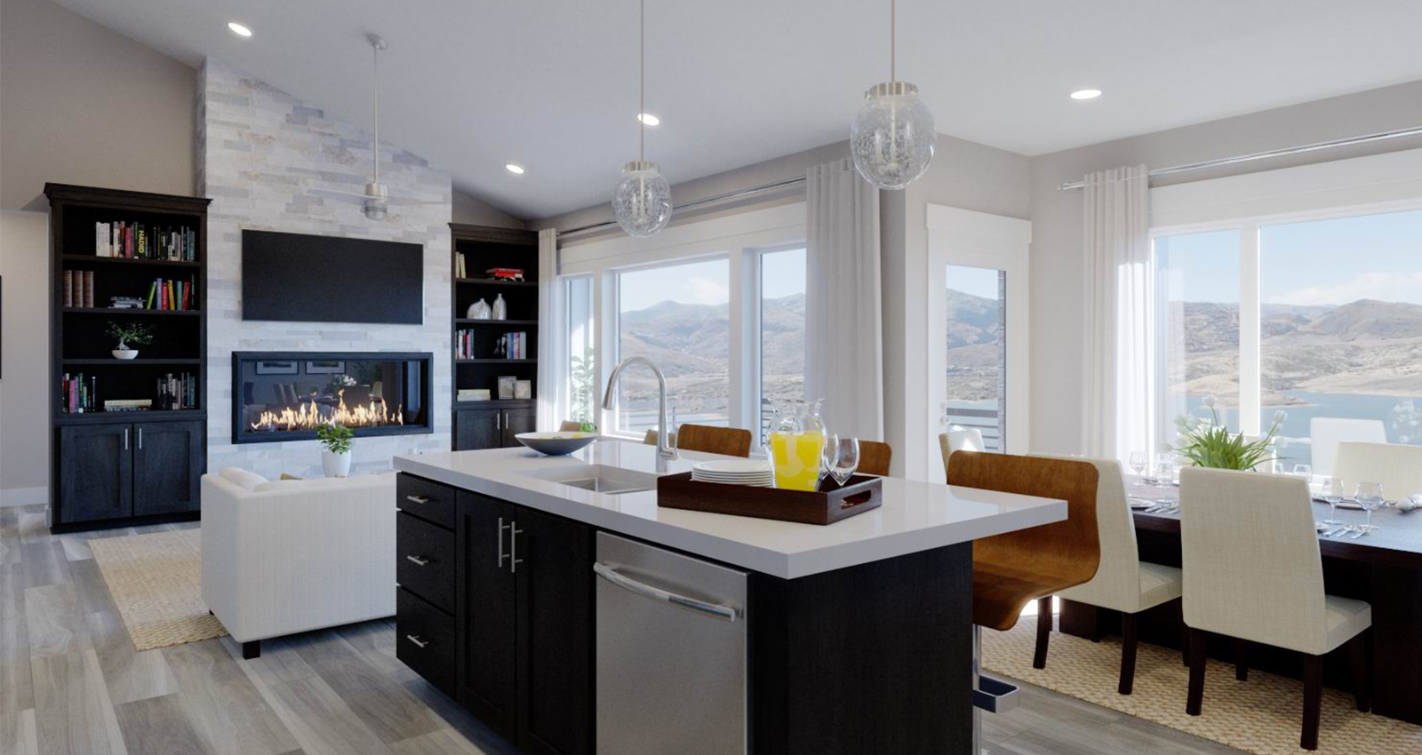 open luxury kitchen with view of mountains and lake