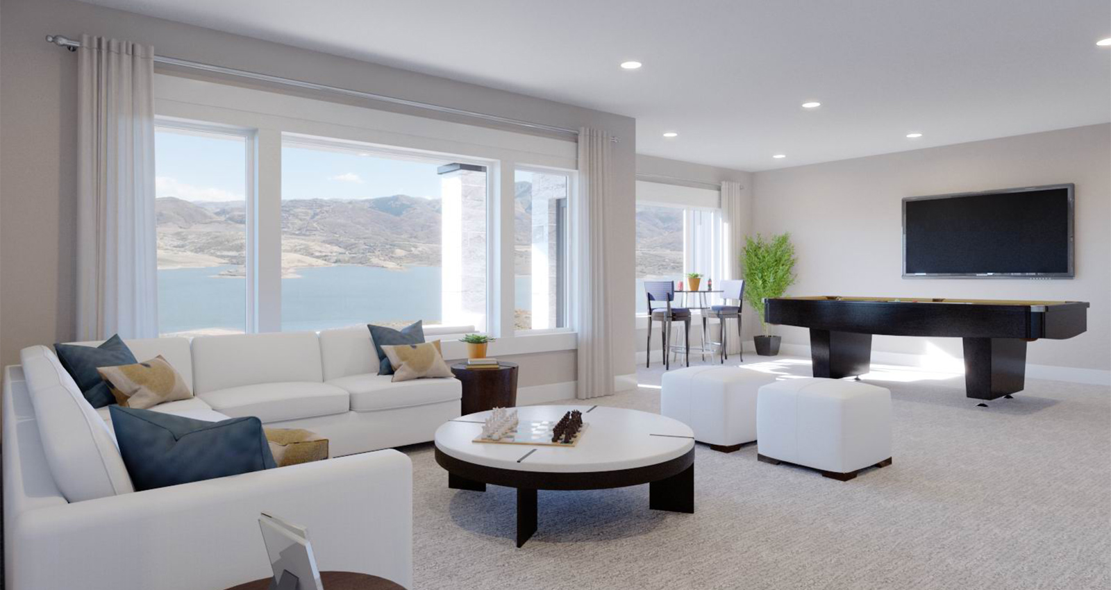 lake and mountain view from luxury townhome living room