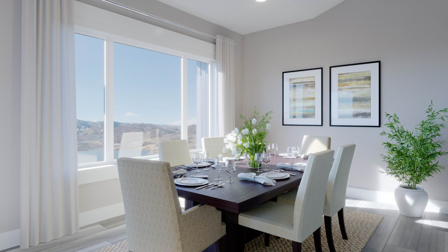 luxury dining room in townhome with mountain view