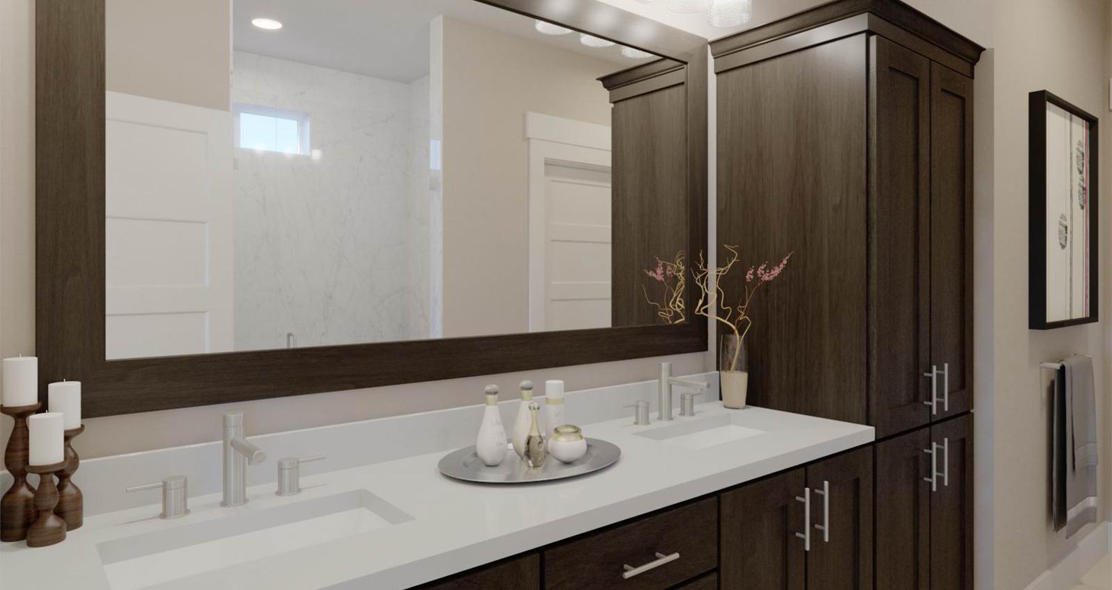 luxury bathroom with marble countertops