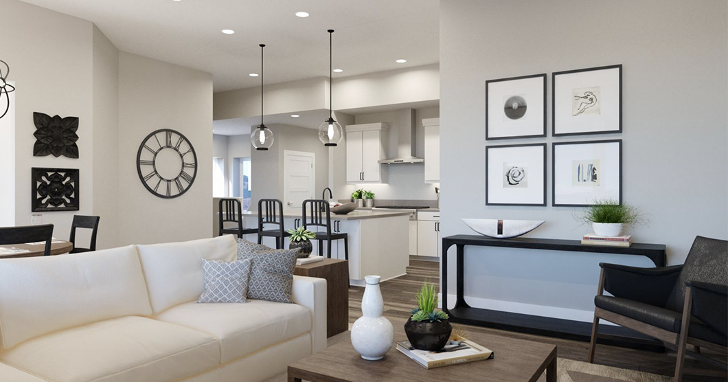 kitchen and living room in gcd townhome
