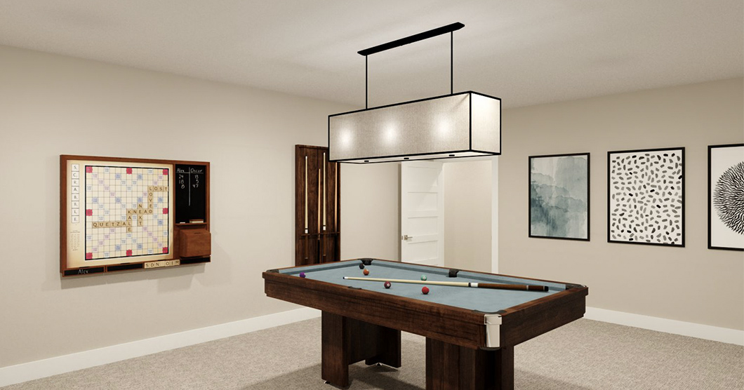 luxury game room with pool table