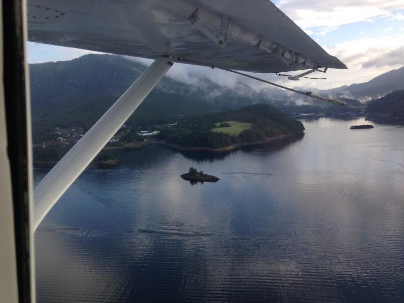 Seaplane flight up the Tongass Narrows towards Traitor's Cove - near Ketchikan Alaska