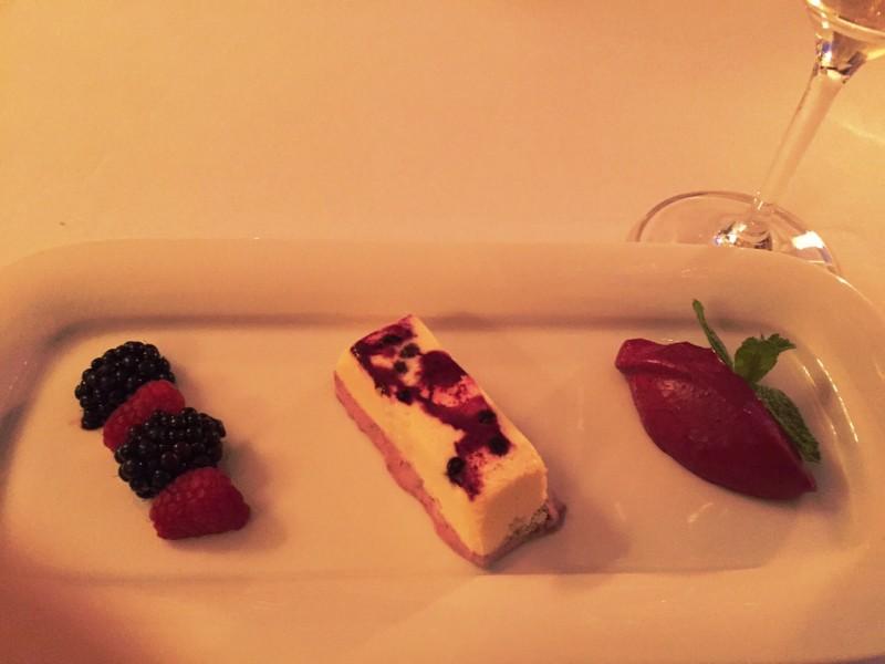 Piano Nobile at Villa Richter : Elderberry Parfait with fresh forest fruit and blackcurrant espuma