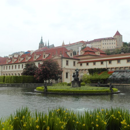 Prague Castle and Castle Hill viewed from the Gardens of the Senate