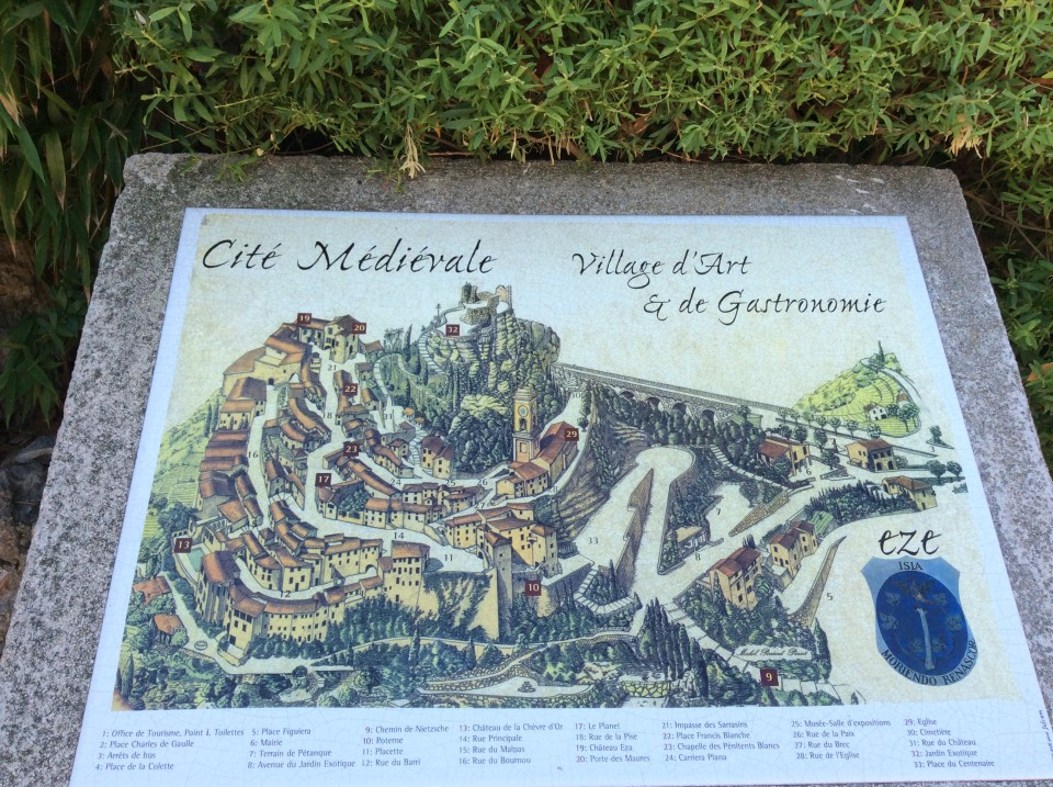 Eze medieval city, village of art and gastronomy map